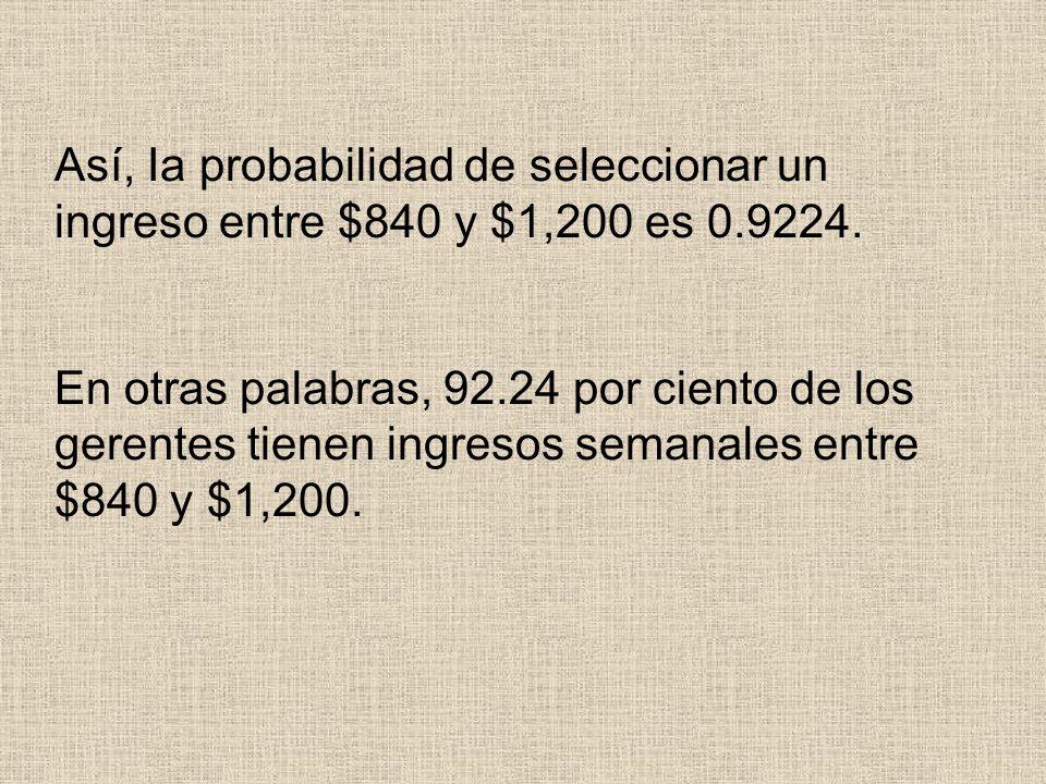 Así, Ia probabilidad de seleccionar un ingreso entre $840 y $1,200 es 0.9224.