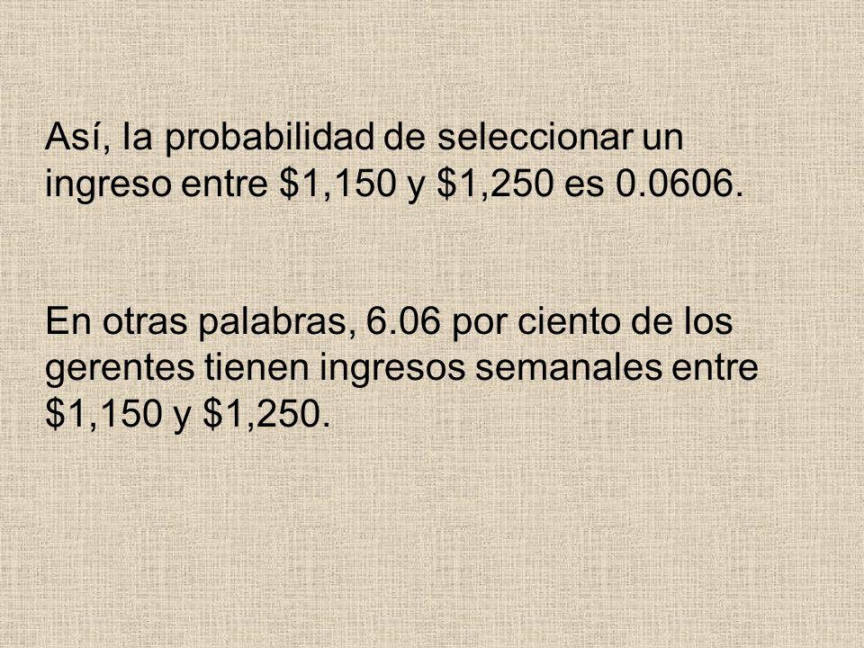 Así, Ia probabilidad de seleccionar un ingreso entre $1,150 y $1,250 es 0.0606.