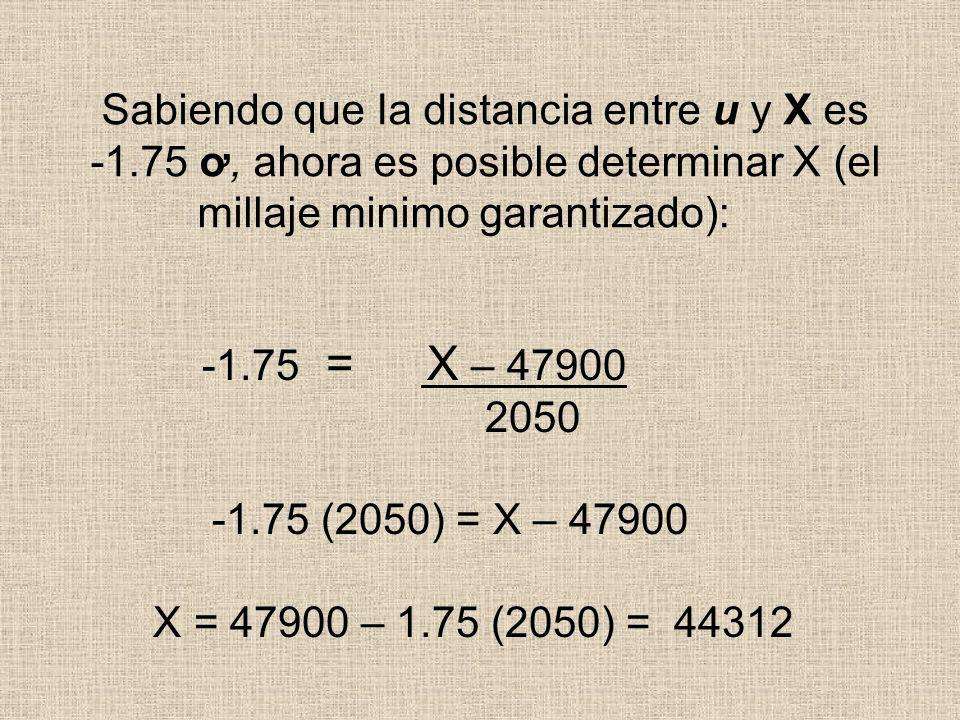 Sabiendo que Ia distancia entre u y X es