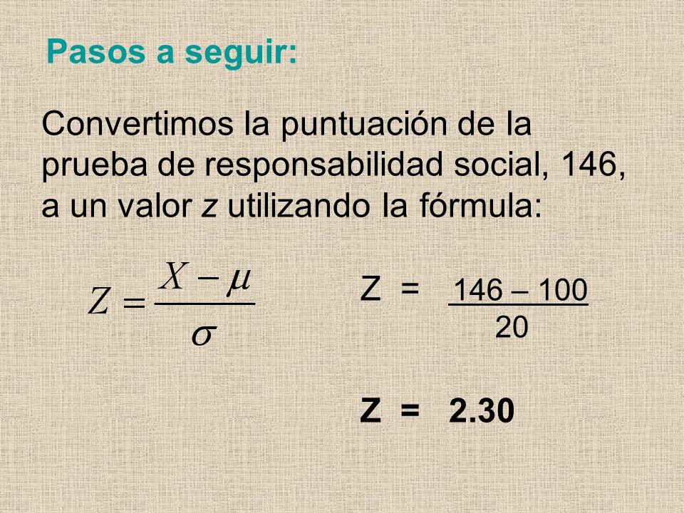 Pasos a seguir: Convertimos Ia puntuación de Ia prueba de responsabilidad social, 146, a un valor z utilizando Ia fórmula: