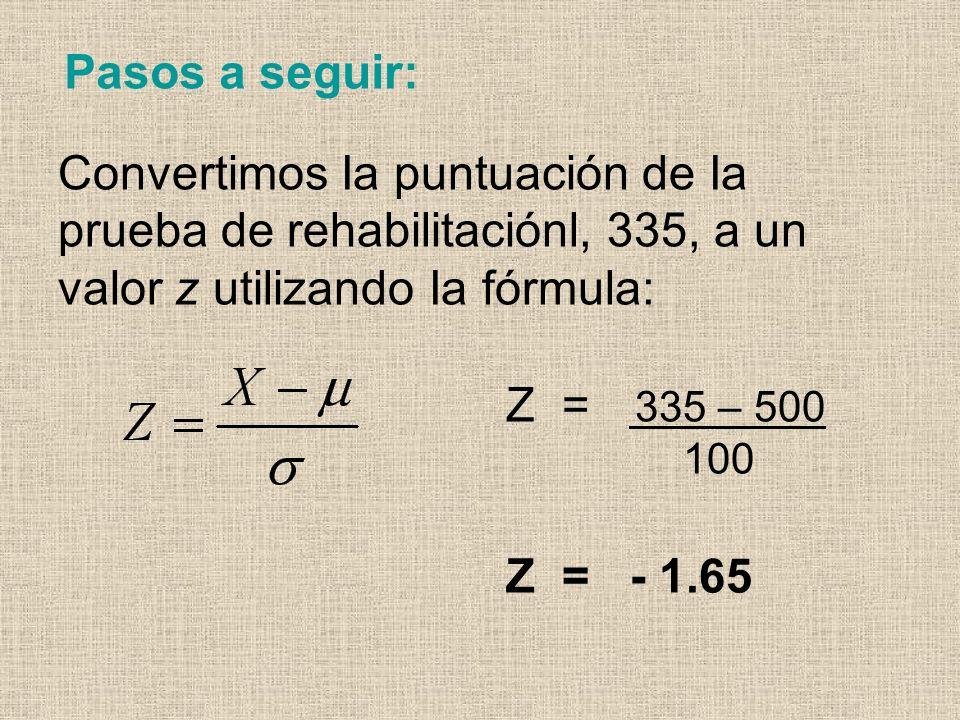 Pasos a seguir: Convertimos Ia puntuación de Ia prueba de rehabilitaciónl, 335, a un valor z utilizando Ia fórmula: