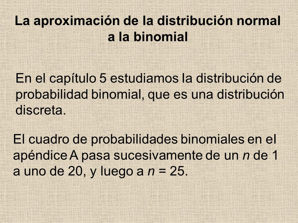 La aproximación de la distribución normal a la binomial