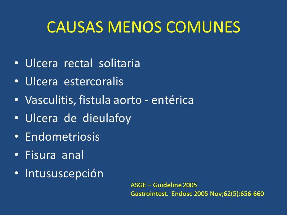CAUSAS MENOS COMUNES Ulcera rectal solitaria Ulcera estercoralis