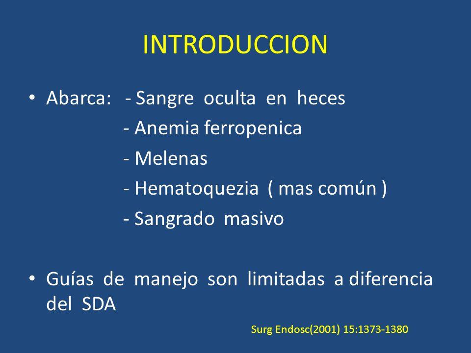 INTRODUCCION Abarca: - Sangre oculta en heces - Anemia ferropenica