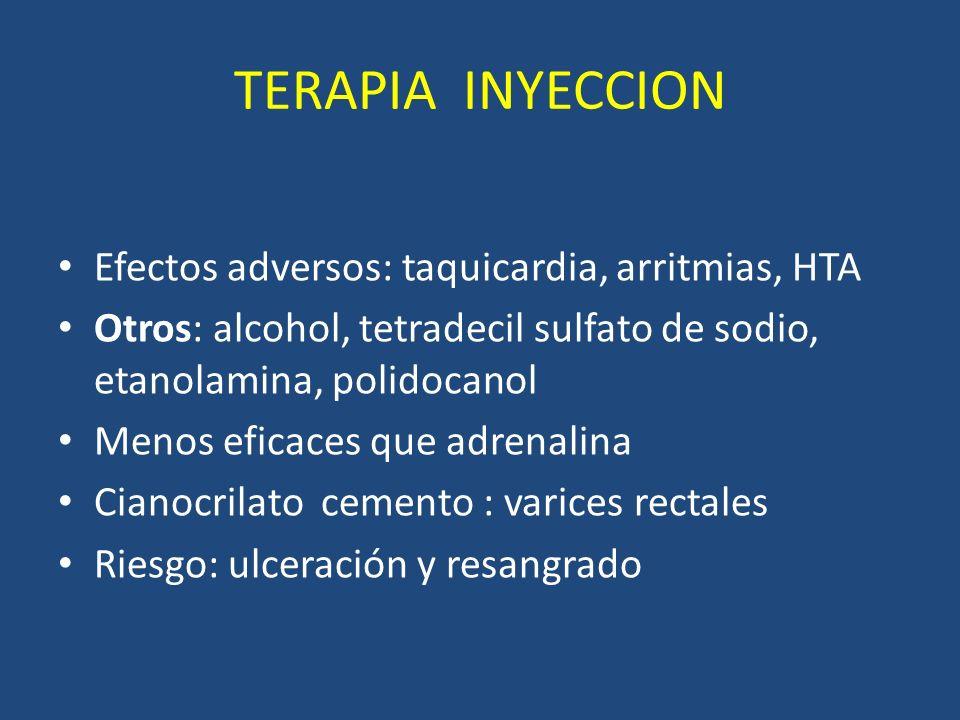 TERAPIA INYECCION Efectos adversos: taquicardia, arritmias, HTA