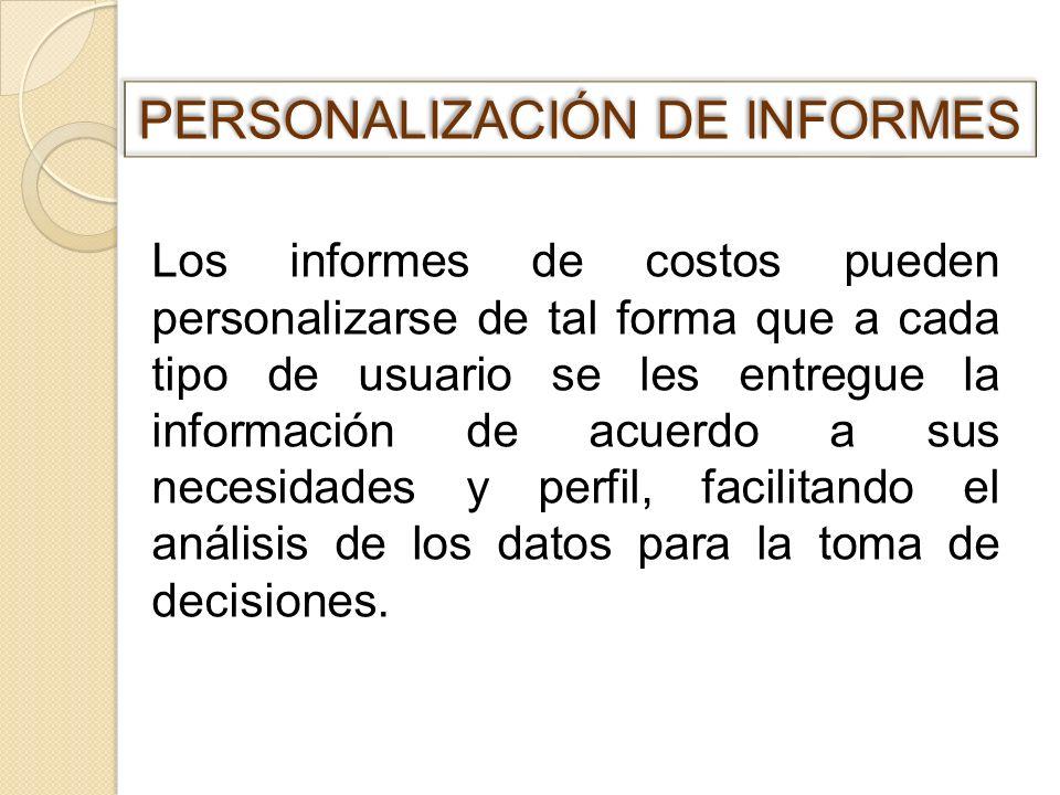 PERSONALIZACIÓN DE INFORMES