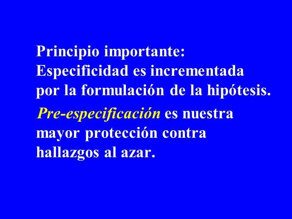 Principio importante: Especificidad es incrementada por la formulación de la hipótesis.