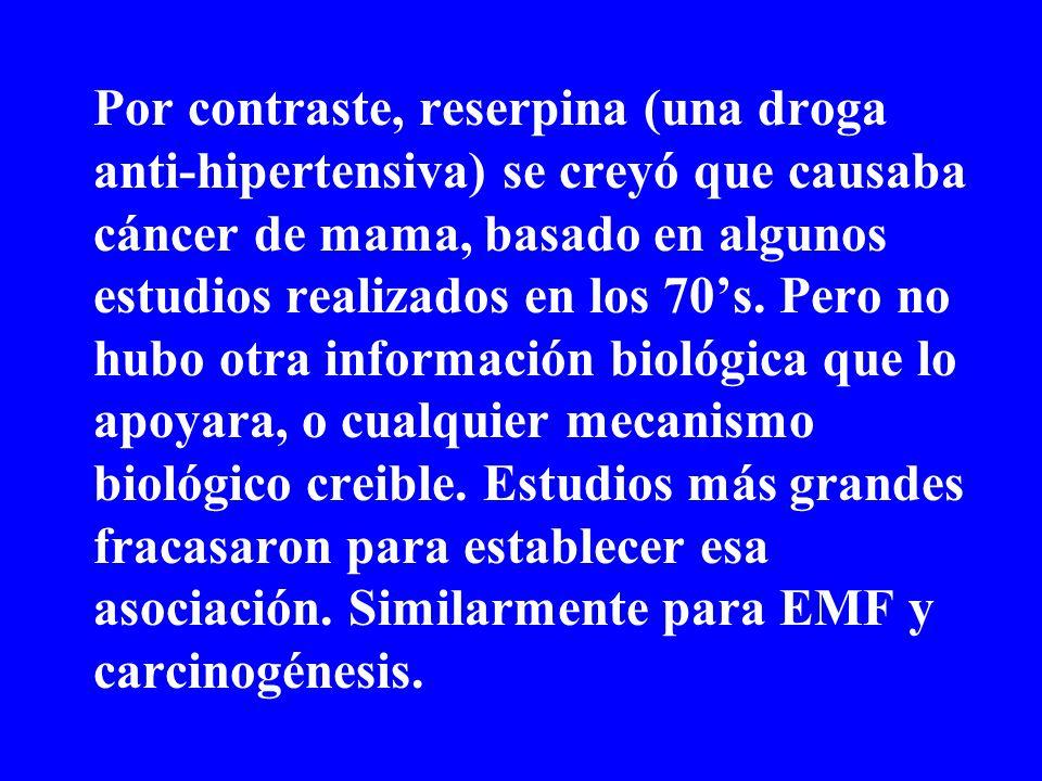Por contraste, reserpina (una droga anti-hipertensiva) se creyó que causaba cáncer de mama, basado en algunos estudios realizados en los 70's.
