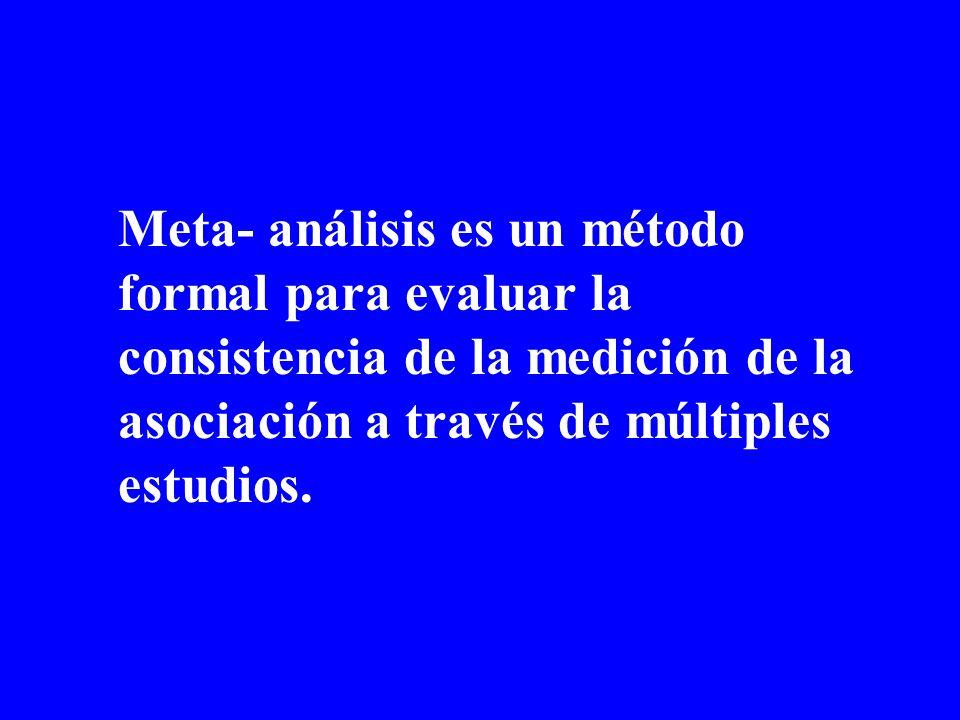 Meta- análisis es un método formal para evaluar la consistencia de la medición de la asociación a través de múltiples estudios.