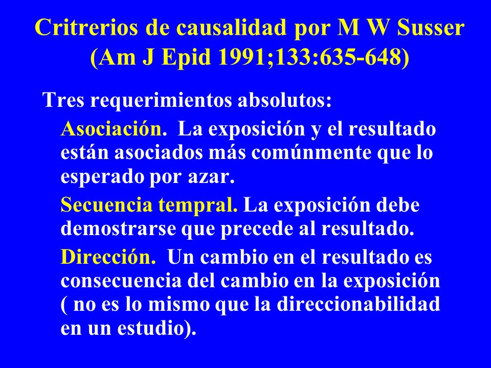 Critrerios de causalidad por M W Susser (Am J Epid 1991;133:635-648)