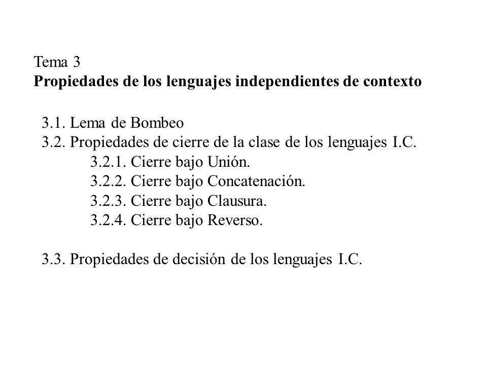 Tema 3 Propiedades de los lenguajes independientes de contexto. 3.1. Lema de Bombeo. 3.2. Propiedades de cierre de la clase de los lenguajes I.C.