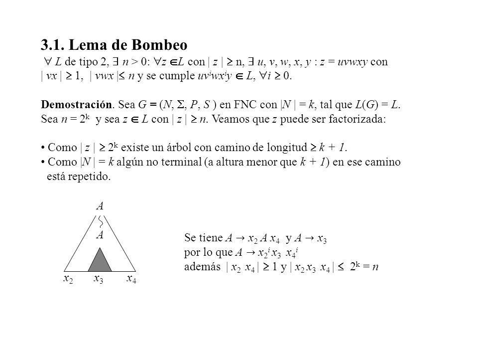 3.1. Lema de Bombeo  L de tipo 2,  n > 0: z L con | z |  n,  u, v, w, x, y : z = uvwxy con.