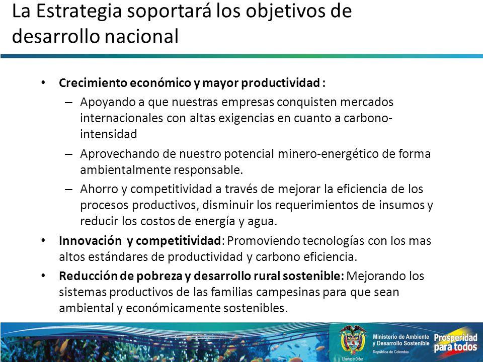 La Estrategia soportará los objetivos de desarrollo nacional