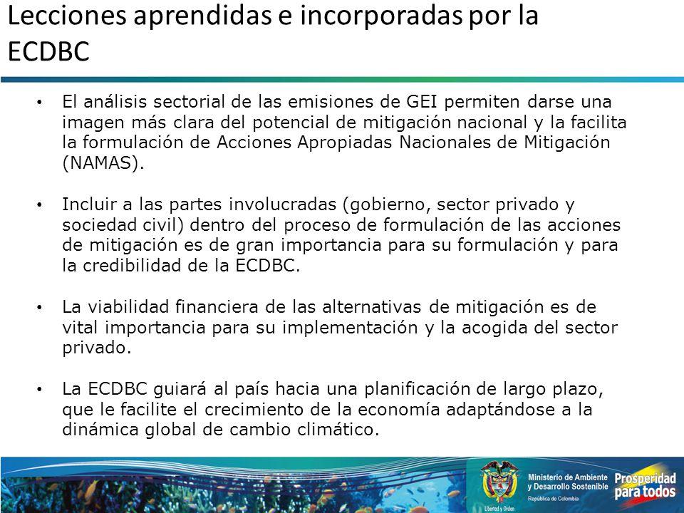 Lecciones aprendidas e incorporadas por la ECDBC
