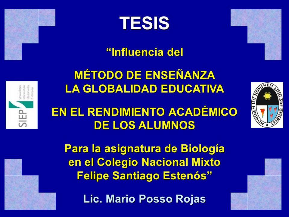 TESIS Influencia del MÉTODO DE ENSEÑANZA LA GLOBALIDAD EDUCATIVA
