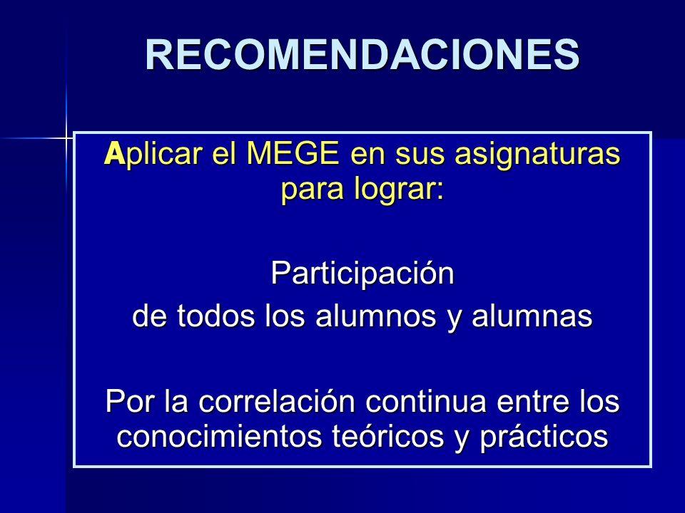RECOMENDACIONES Participación de todos los alumnos y alumnas