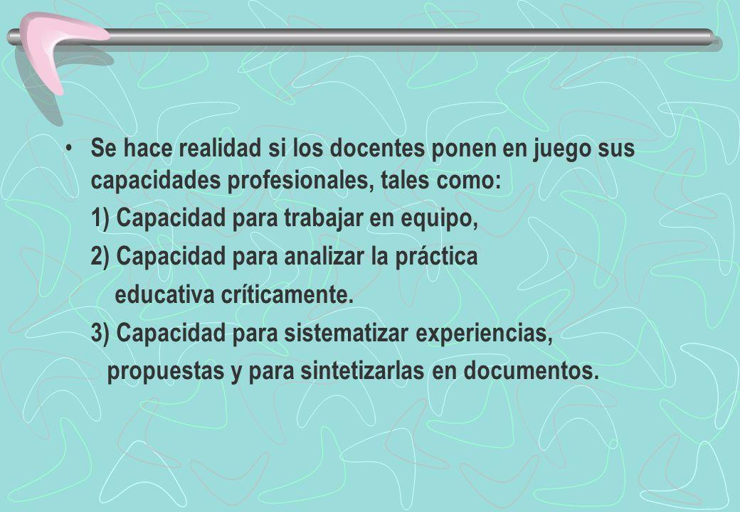 Se hace realidad si los docentes ponen en juego sus capacidades profesionales, tales como: