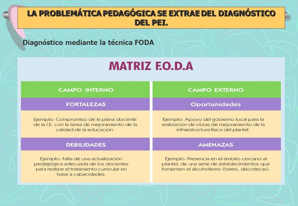 LA PROBLEMÁTICA PEDAGÓGICA SE EXTRAE DEL DIAGNÓSTICO DEL PEI.