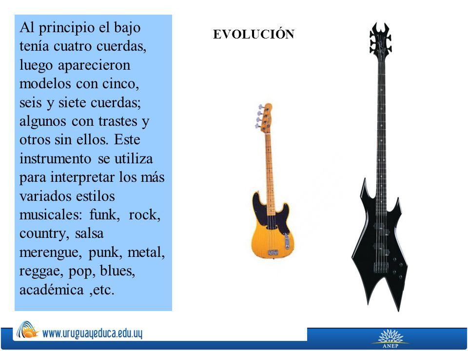 Al principio el bajo tenía cuatro cuerdas, luego aparecieron modelos con cinco, seis y siete cuerdas; algunos con trastes y otros sin ellos. Este instrumento se utiliza para interpretar los más variados estilos musicales: funk, rock, country, salsa merengue, punk, metal, reggae, pop, blues, académica ,etc.