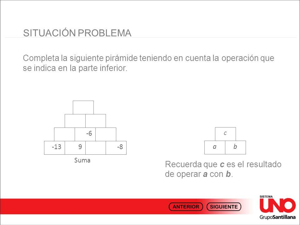 SITUACIÓN PROBLEMACompleta la siguiente pirámide teniendo en cuenta la operación que se indica en la parte inferior.
