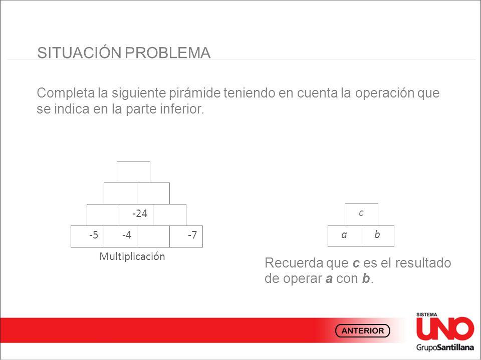 SITUACIÓN PROBLEMA Completa la siguiente pirámide teniendo en cuenta la operación que se indica en la parte inferior.
