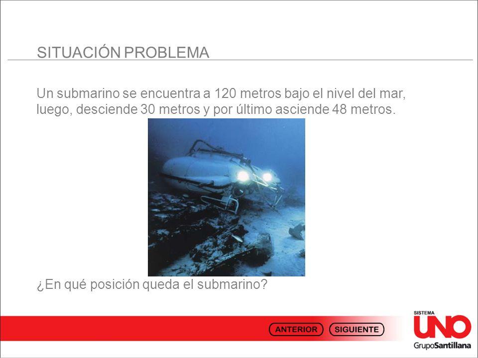 SITUACIÓN PROBLEMA Un submarino se encuentra a 120 metros bajo el nivel del mar, luego, desciende 30 metros y por último asciende 48 metros.