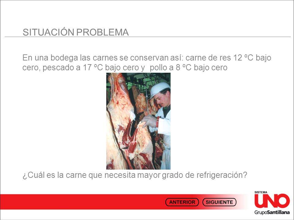 SITUACIÓN PROBLEMA En una bodega las carnes se conservan así: carne de res 12 ºC bajo cero, pescado a 17 ºC bajo cero y pollo a 8 ºC bajo cero.