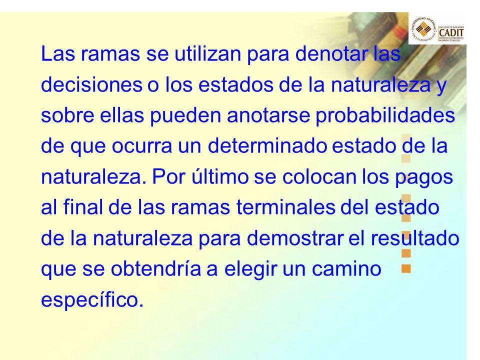 Las ramas se utilizan para denotar las decisiones o los estados de la naturaleza y sobre ellas pueden anotarse probabilidades de que ocurra un determinado estado de la naturaleza.