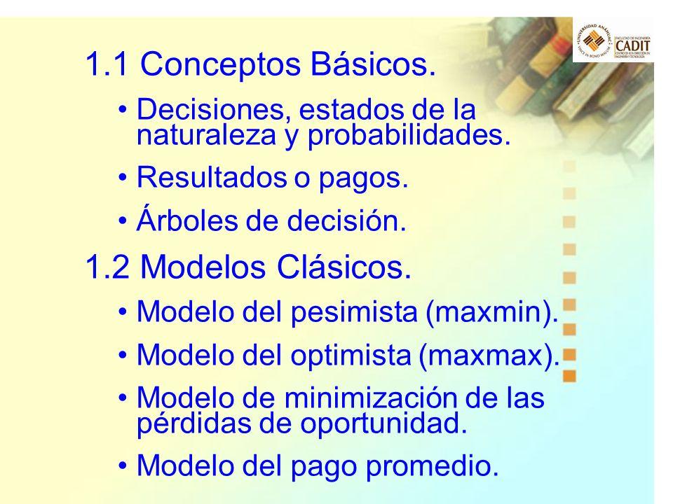 1.1 Conceptos Básicos. 1.2 Modelos Clásicos.