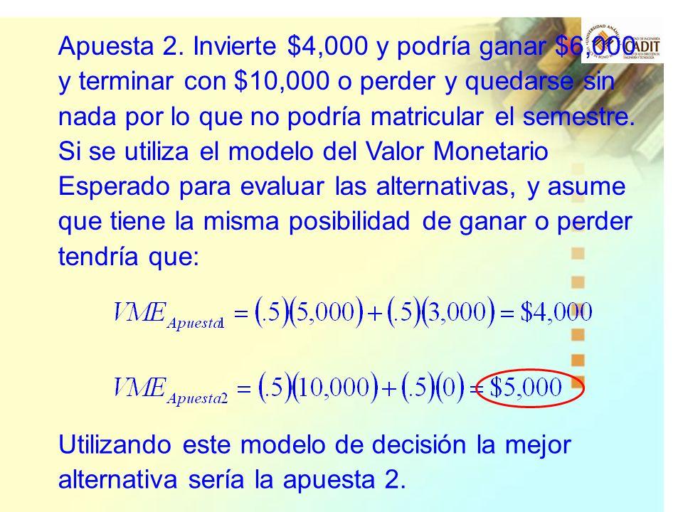Apuesta 2. Invierte $4,000 y podría ganar $6,000 y terminar con $10,000 o perder y quedarse sin nada por lo que no podría matricular el semestre.