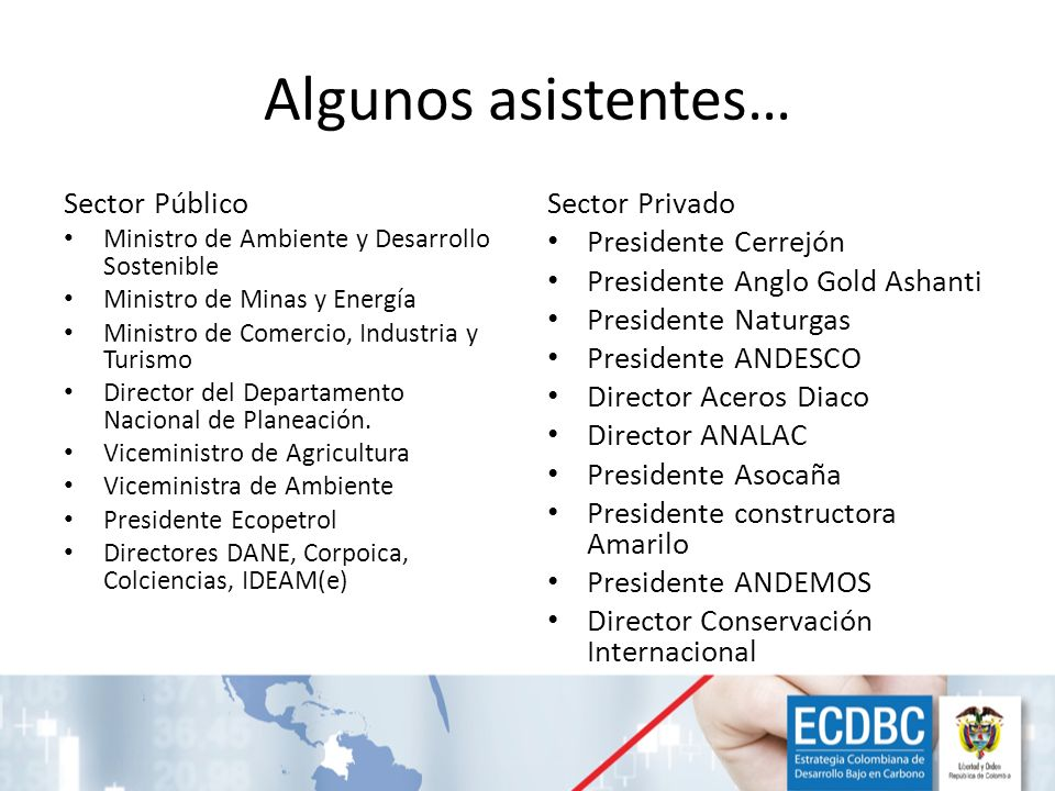 Algunos asistentes… Sector Público Sector Privado Presidente Cerrejón