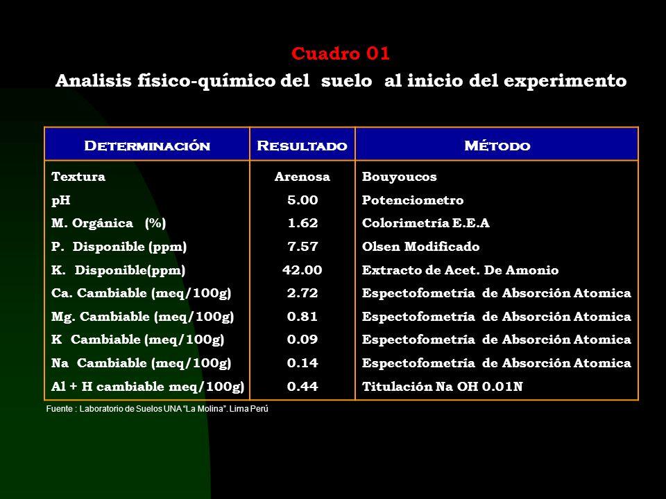 Analisis físico-químico del suelo al inicio del experimento
