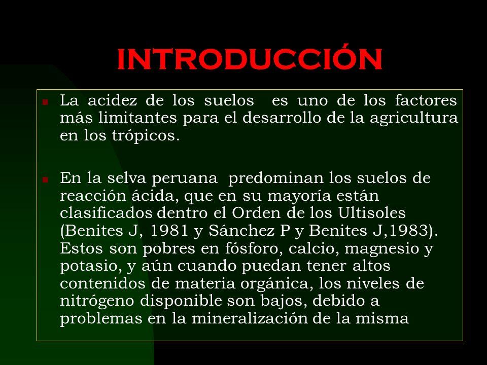 INTRODUCCIÓN La acidez de los suelos es uno de los factores más limitantes para el desarrollo de la agricultura en los trópicos.