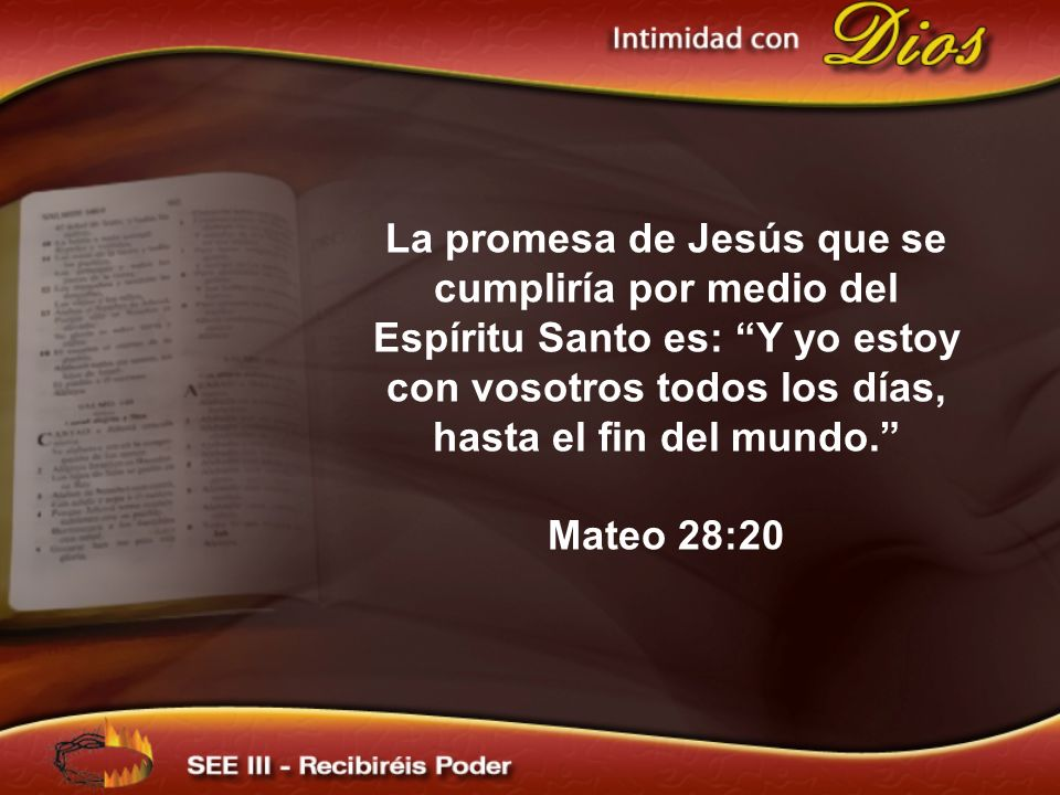 La promesa de Jesús que se cumpliría por medio del Espíritu Santo es: Y yo estoy con vosotros todos los días, hasta el fin del mundo.