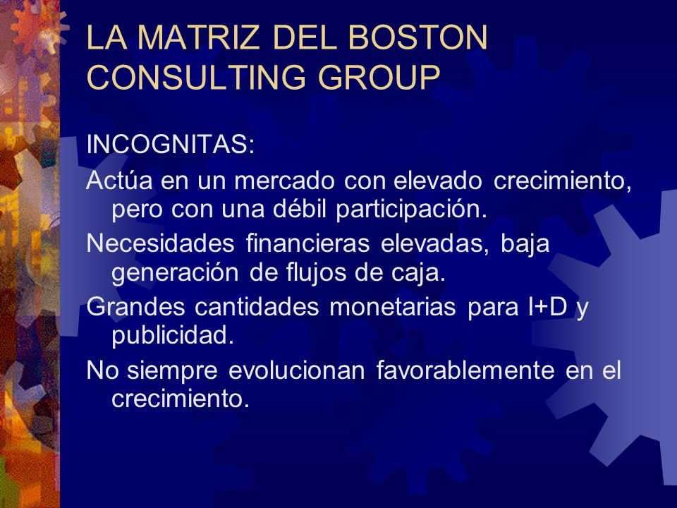 LA MATRIZ DEL BOSTON CONSULTING GROUP