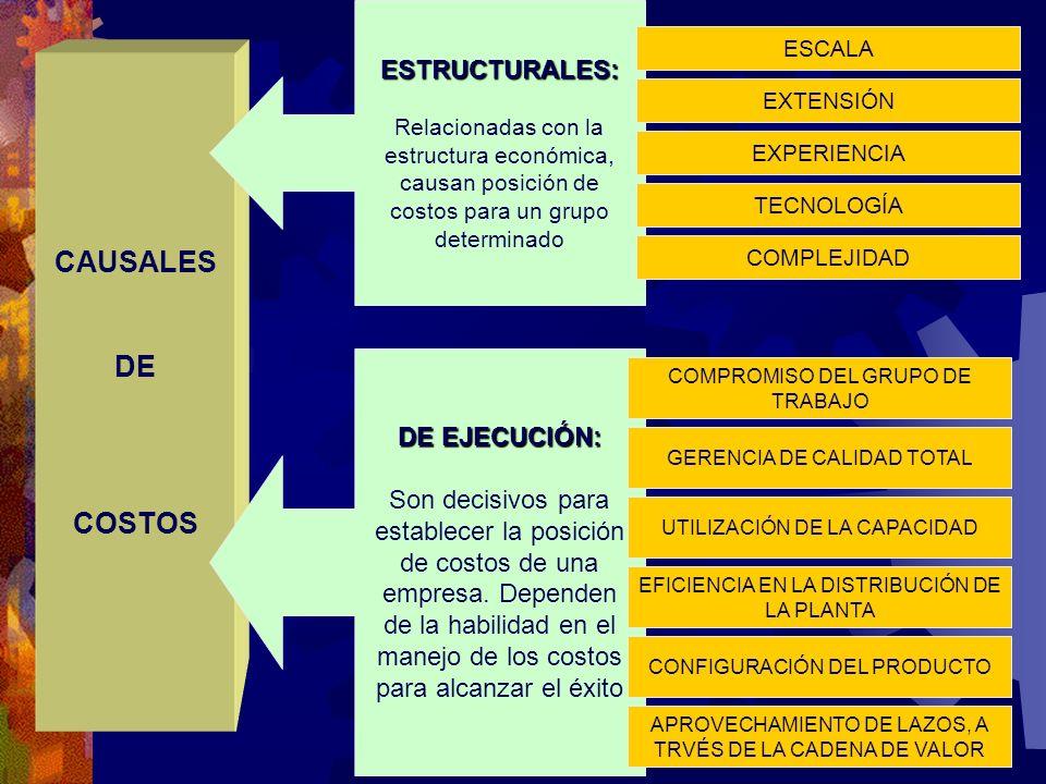 CAUSALES DE COSTOS ESTRUCTURALES: DE EJECUCIÓN: