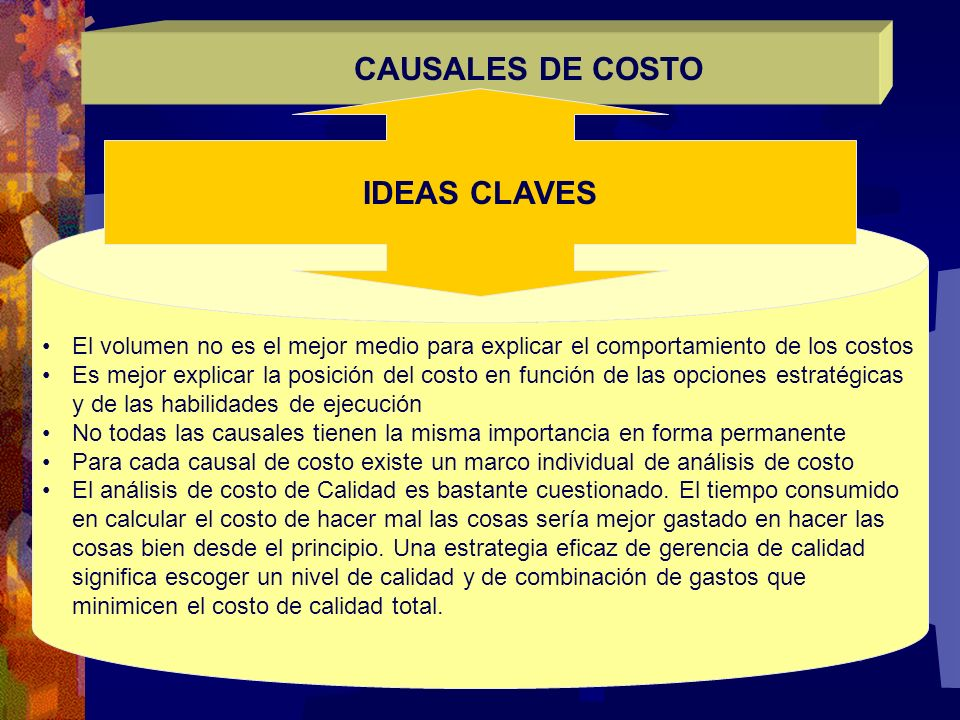 CAUSALES DE COSTO IDEAS CLAVES