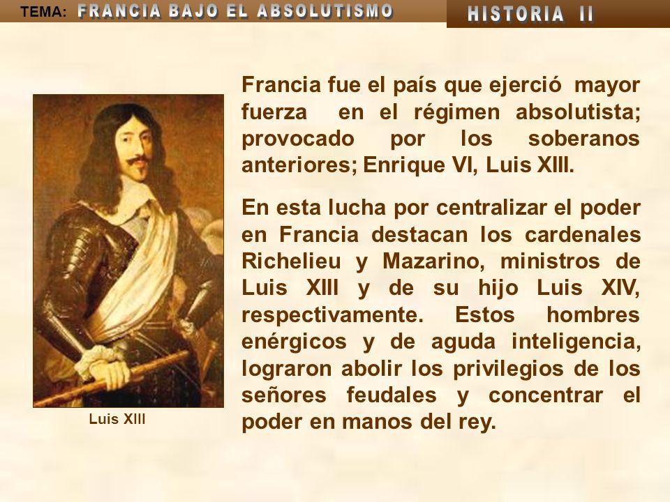 Francia fue el país que ejerció mayor fuerza en el régimen absolutista; provocado por los soberanos anteriores; Enrique VI, Luis XIII.