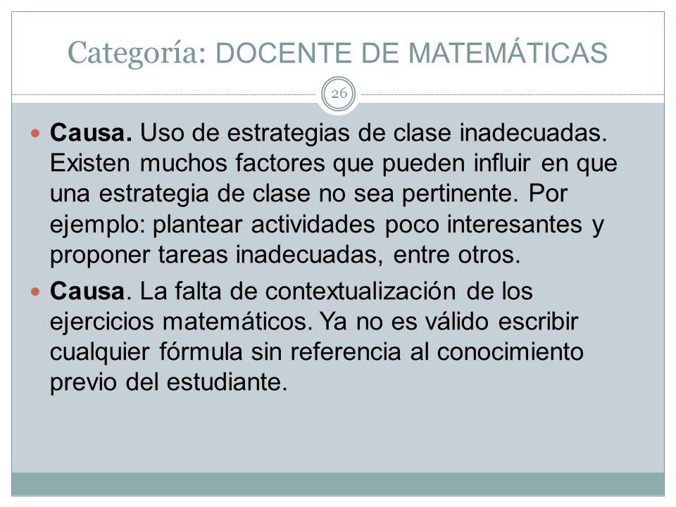 Categoría: DOCENTE DE MATEMÁTICAS