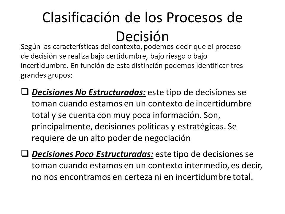 Clasificación de los Procesos de Decisión