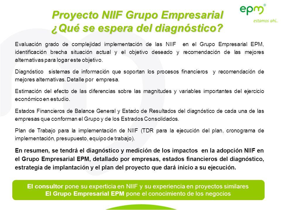 Proyecto NIIF Grupo Empresarial ¿Qué se espera del diagnóstico