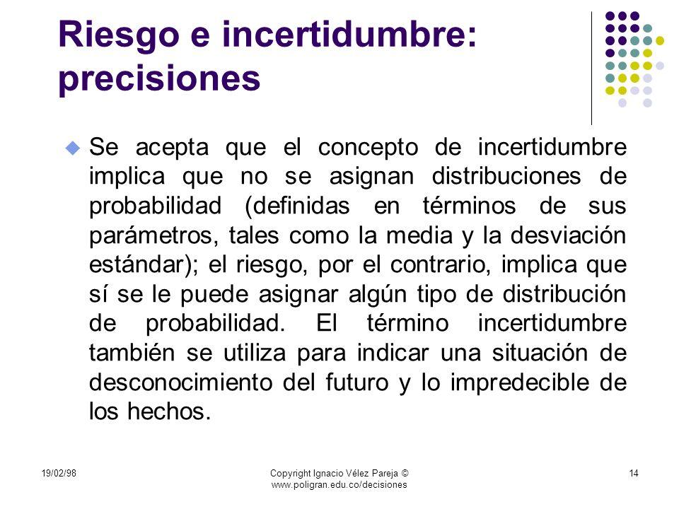 Riesgo e incertidumbre: precisiones