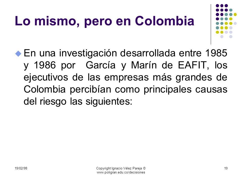 Lo mismo, pero en Colombia