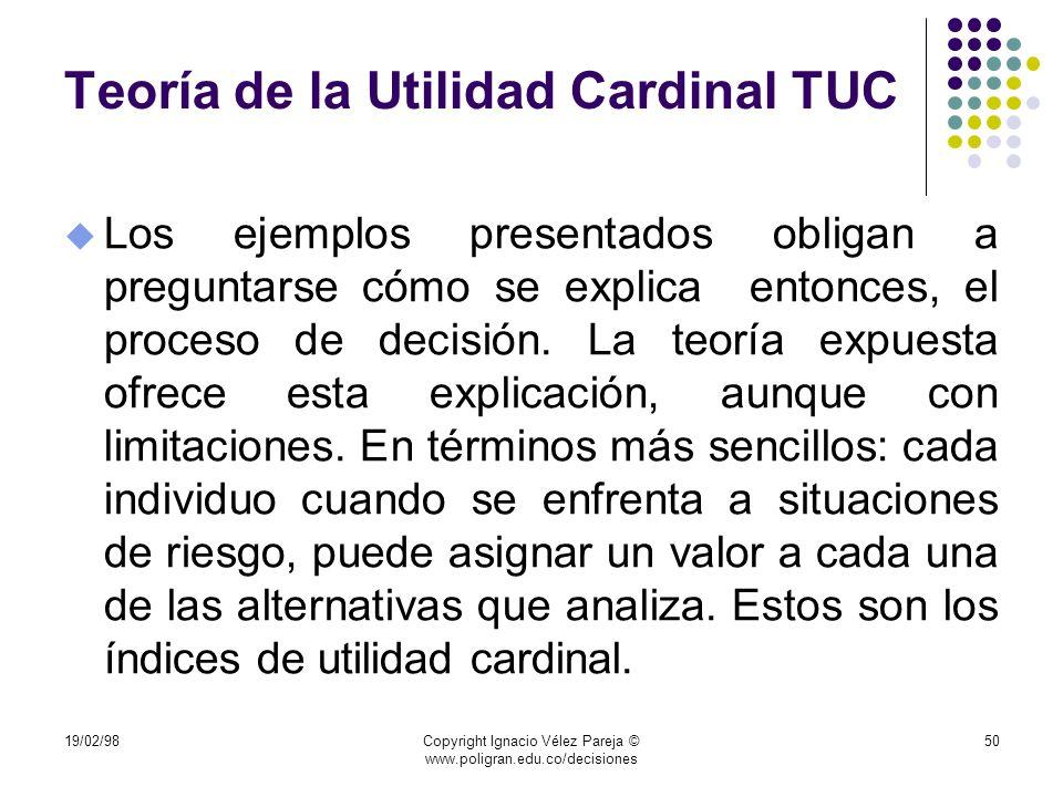 Teoría de la Utilidad Cardinal TUC