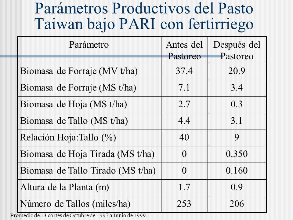Parámetros Productivos del Pasto Taiwan bajo PARI con fertirriego