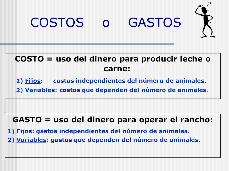 COSTOS o GASTOS COSTO = uso del dinero para producir leche o carne: