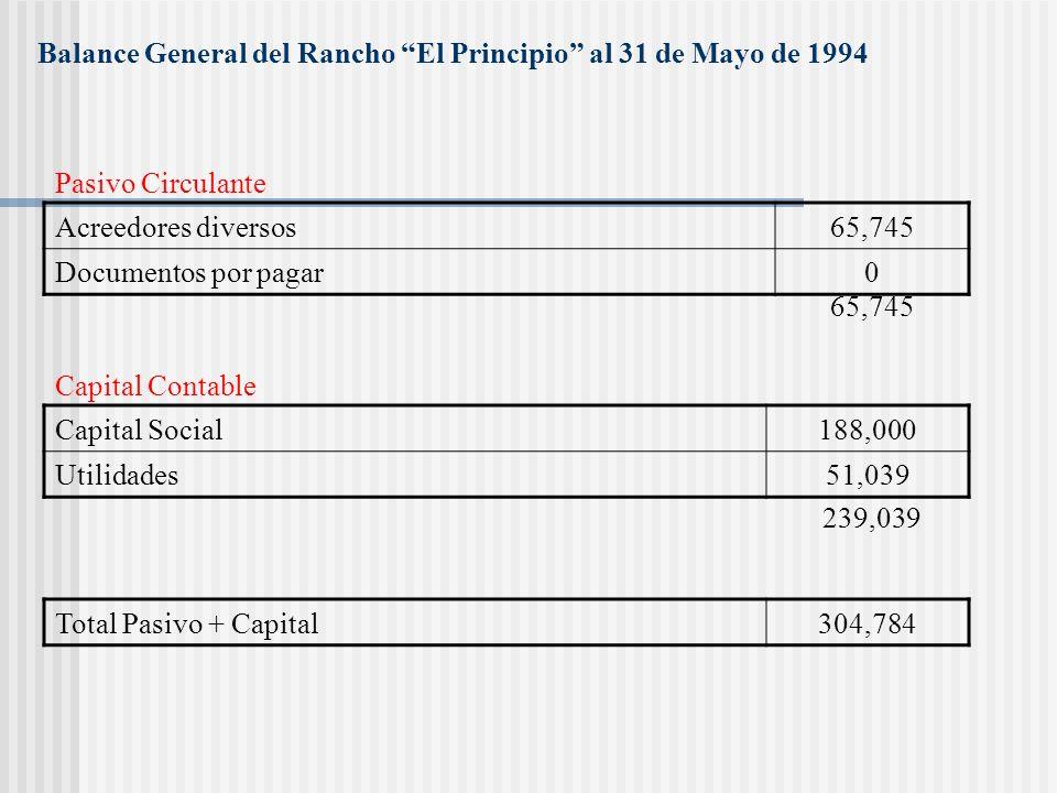 Balance General del Rancho El Principio al 31 de Mayo de 1994