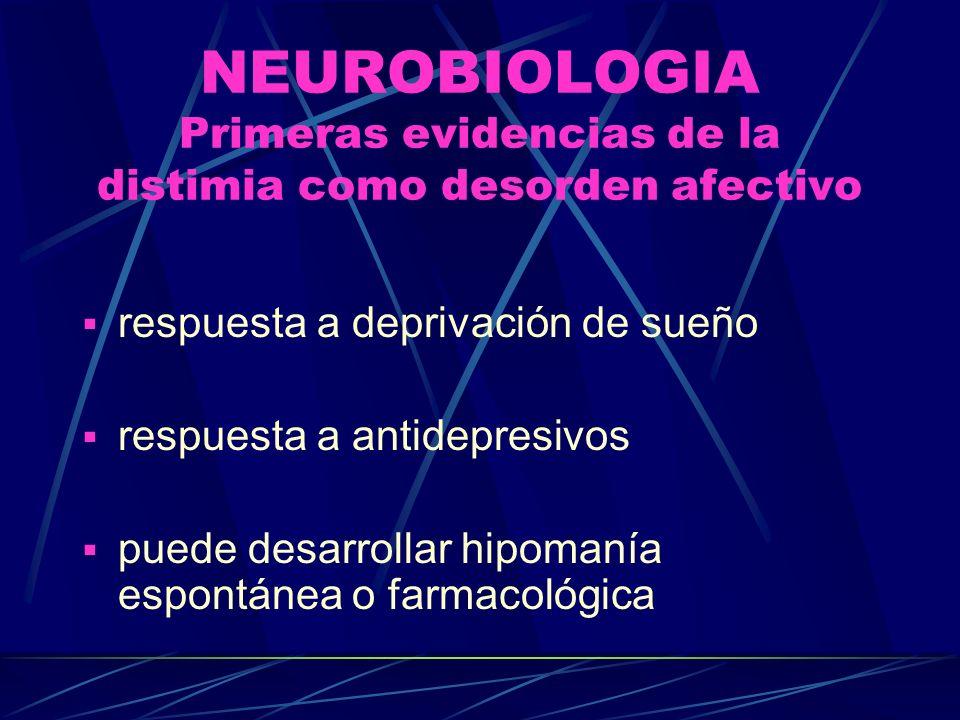 NEUROBIOLOGIA Primeras evidencias de la distimia como desorden afectivo