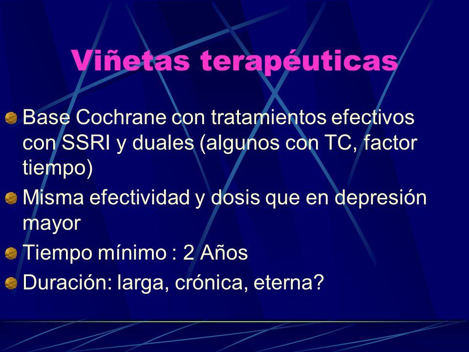 Viñetas terapéuticas Base Cochrane con tratamientos efectivos con SSRI y duales (algunos con TC, factor tiempo)