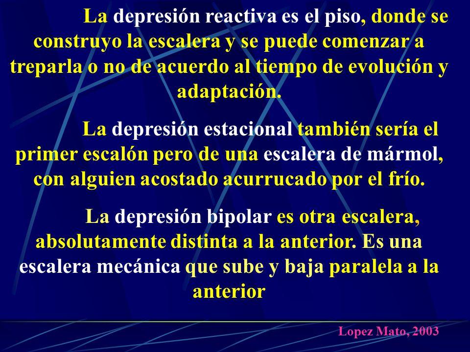 La depresión reactiva es el piso, donde se construyo la escalera y se puede comenzar a treparla o no de acuerdo al tiempo de evolución y adaptación.